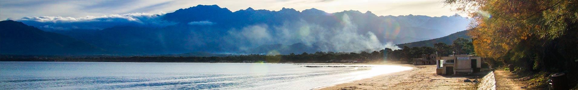 calvi beach around Corsican campsite